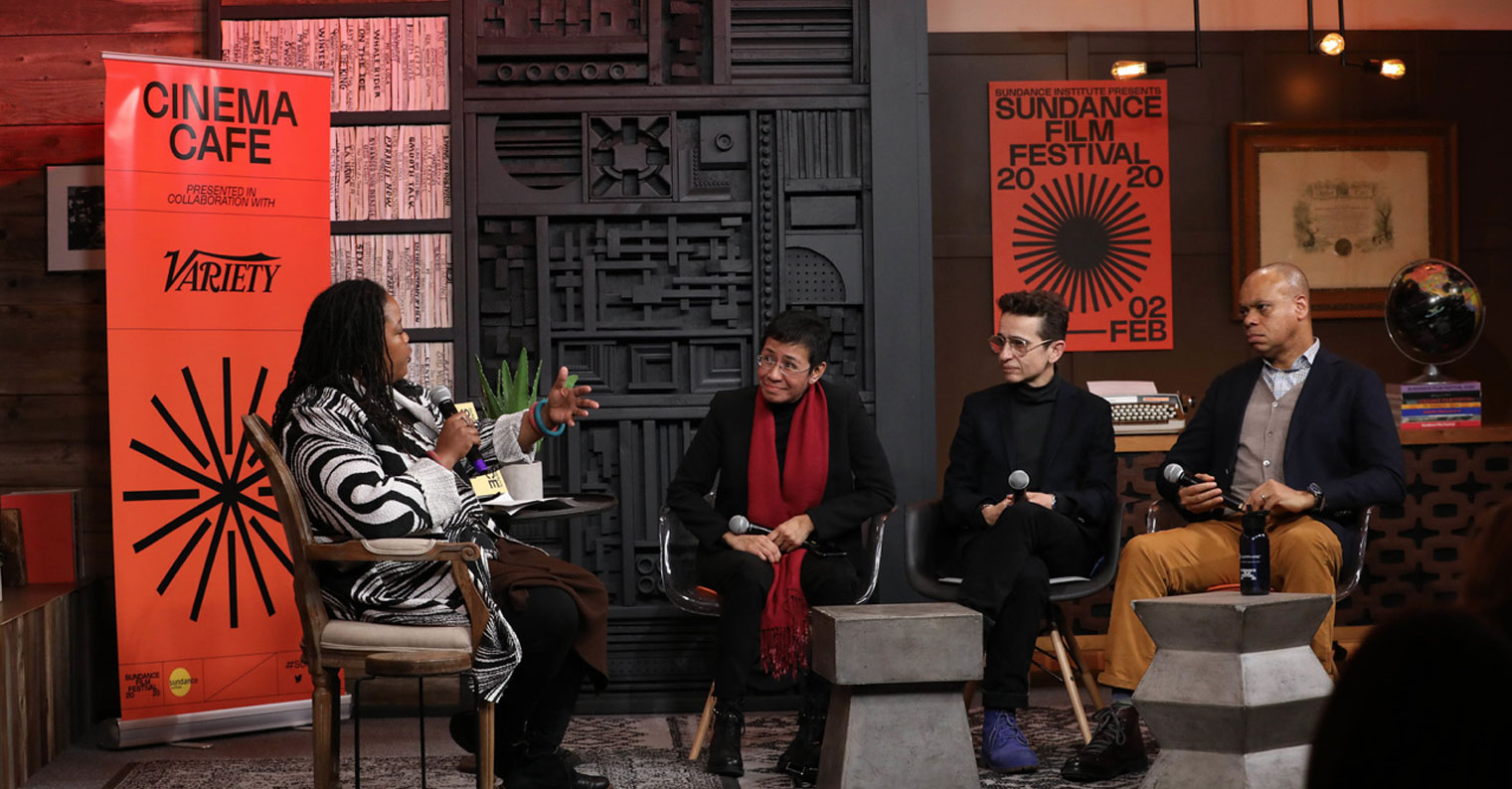 Truth to Power panelists Farai Chideya, Maria Ressa, Masha Gessen, and Patrick Gaspard at the 2020 Sundance Film Festival