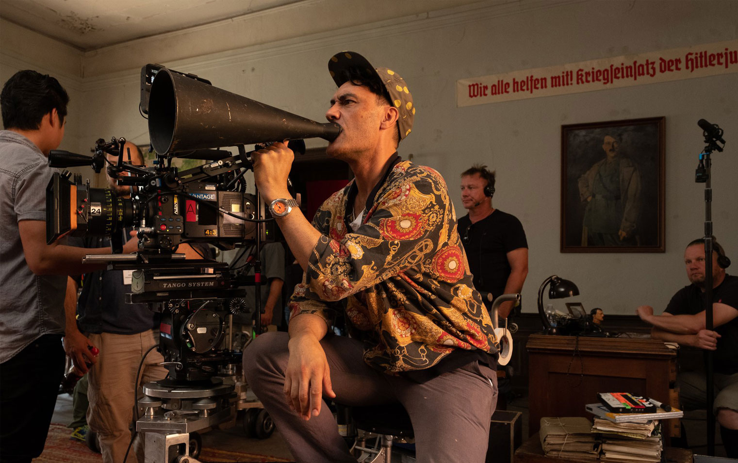 Director Taika Waititi on the set of the film Jojo Rabbit