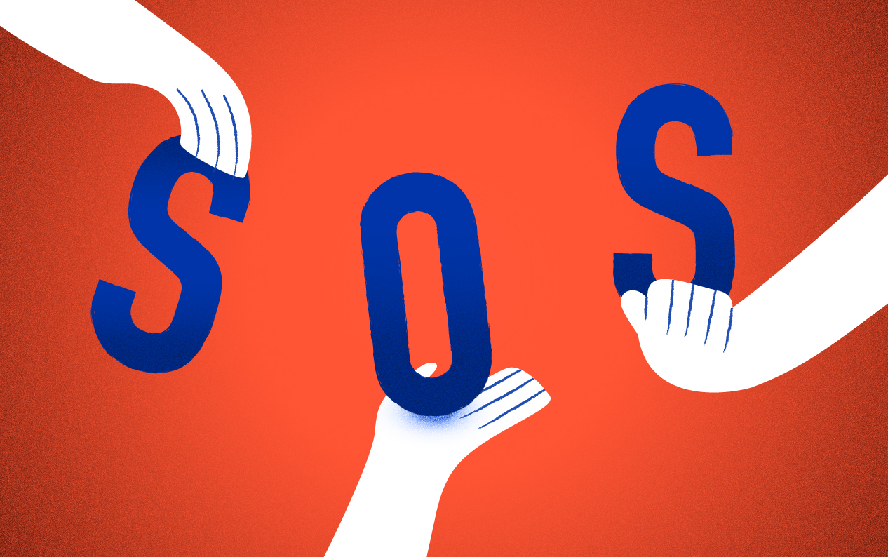 "Tricolor illustration of three hands, each holding one letter, spelling out ""SOS."""