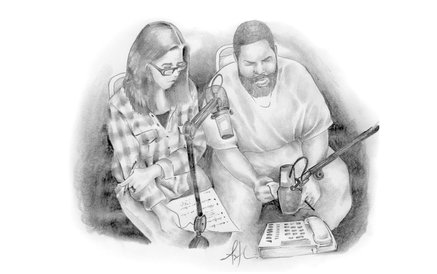Black-and-white illustration of Ear Hustle podcast hosts Nigel Poor and Earlonne Woods.
