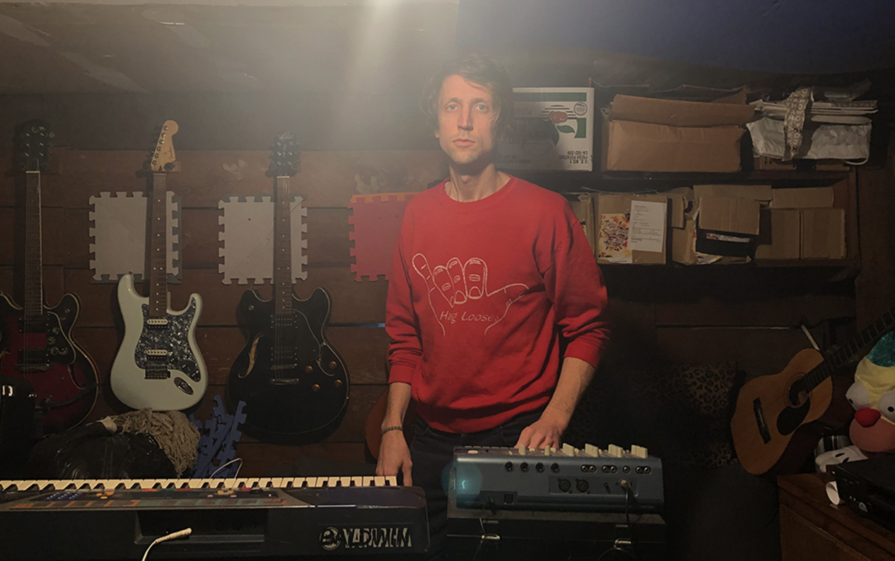 Musician Luke Sweeney, co-owner of The Cocktail Camp, in the storage room of his San Francisco apartment.