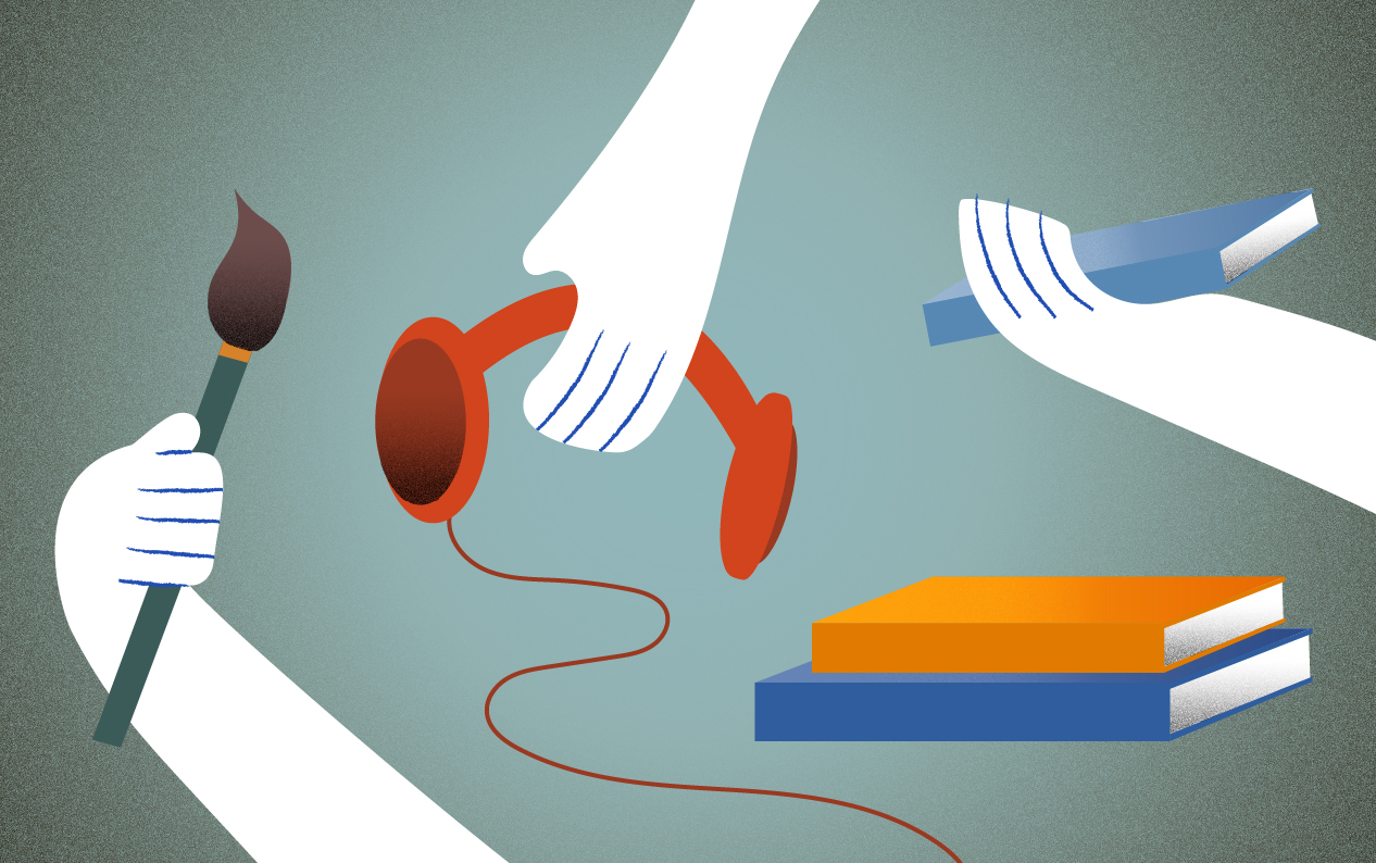 Color illustration of three hands: one holds a paintbrush, another holds headphones, and the third holds a book